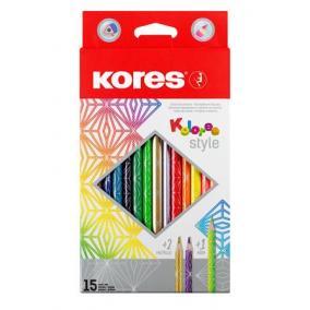 Színes ceruza készlet, háromszögletű, KORES