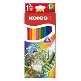Akvarell ceruza készlet, hegyezővel, ecsettel, KORES, 12 különböző szín [12 db]