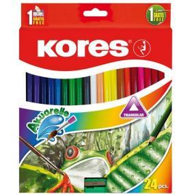 Akvarell ceruza készlet, hegyezővel, ecsettel, KORES, 24 különböző szín [24 db]