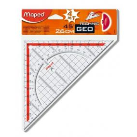 Háromszög vonalzó, műanyag, 45°, 26 cm, MAPED