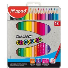 Színes ceruza készlet, háromszögletű, fém doboz, MAPED
