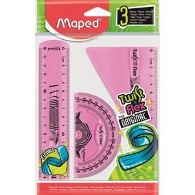 Vonalzókészlet, műanyag, törhetetlen, 3 darabos, MAPED