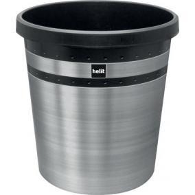 Papírkosár, 18 liter, rozsdamentes acél, HELIT