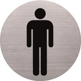 Információs tábla, rozsdamentes acél, HELIT, férfi mosdó