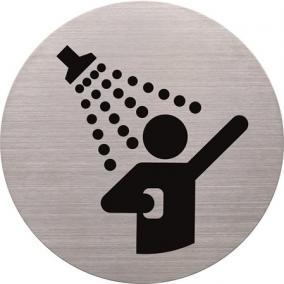 Információs tábla, rozsdamentes acél, HELIT, zuhanyozó