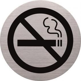 Információs tábla, rozsdamentes acél, HELIT, tilos a dohányzás