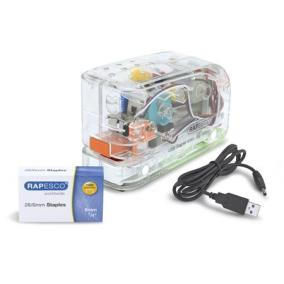 Tűzőgép, 26/6, 15 lap, műanyag, elemes, USB töltővel, RAPESCO