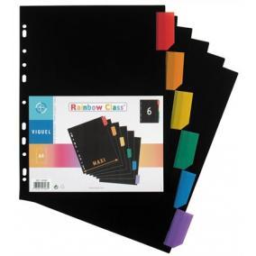 Regiszter, műanyag, A4 Maxi, 6 részes, VIQUEL