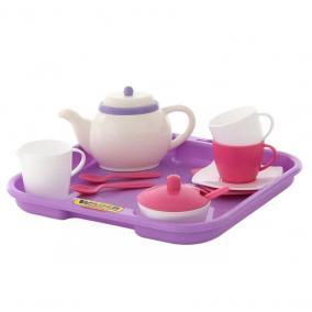 Játék teáskészlet tálcával, 2 személyes