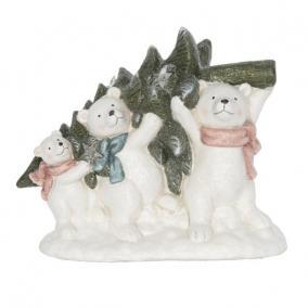 Jegesmedvék fenyővel LED-es kerámia 36 cm x 19 cm x 29,5 cm színes