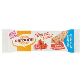 Müzliszelet, 20 g, CERBONA, piros gyümölcsös