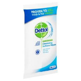 Felülettisztító kendő, antibakteriális, 36 db, DETTOL [36 db]