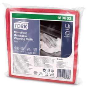 Tisztítókendő, mikroszálas, újra felhasználható, 1 rétegű, W8 rendszer, TORK, piros [6 db]