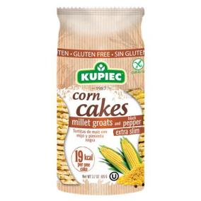 Puffasztott kukorica, extra vékony, 105 g, KUPIEC, kölesdarával és fekete borssal