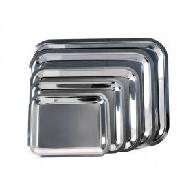 Tálca, szögletes, rozsdamentes acél, krómozott, 35x28cm