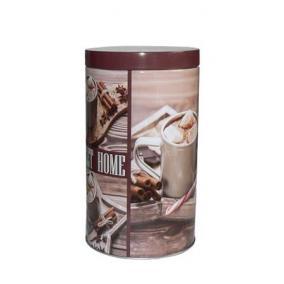 Kávétartó doboz , fémhenger, mintás, 11x18cm