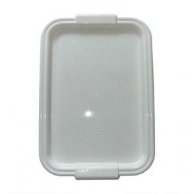 Tálca, műanyag, lekerekített peremmel, szögletes, fehér, 45x30cm