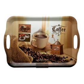Tálca, szögletes, műanyag, kávéház mintás, 35,5x25,5 cm