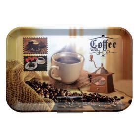 Tálca, szögletes, műanyag, kávéház mintás, 21x14 cm