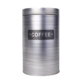 Kávétartó doboz, henger, fém, mintás, 11x18 cm