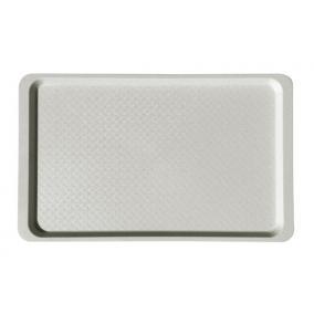 Tálca, szögletes, műanyag, fehér-mákos, 53x32,5 cm
