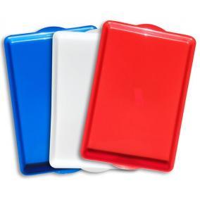 Tálca, műanyag, szögletes,43x28 cm, piros