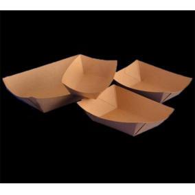 Papírtálca, csónak alakú, ecokraft, 400 ml, barna