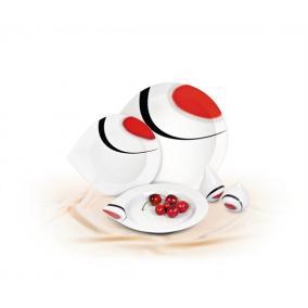 Sószóró, ROTBERG, fehér, csepp alakú, 7,5cm, piros-fekete mintával