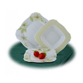 Desszertes tányér, ROTBERG, fehér, 22 cm, 6db-os szett, zöldvirágos mintával [6 db]