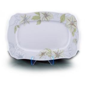 Süteményes-, kínálótál, ROTBERG, fehér, 33 cm, zöldvirágos mintával