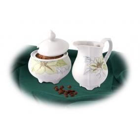 Tejszínkiöntő, porcelán, ROTBERG, fehér, 25cl, zöldvirágos mintával
