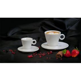 Kávéscsésze+alj, fehér, 22cl, 6db-os szett,