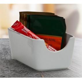 Cukor és teafilter tartó, négyszögletes, fehér, 11x7,5cm,