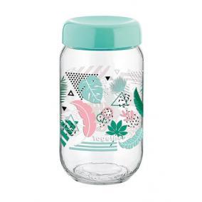 Tárolóüveg, műanyag tetővel, mintás, 1 l