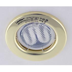 KIT-57A-3, 3db 7W GU10 230V fehér kompakt fénycső, fix, beépíthető szett, arany
