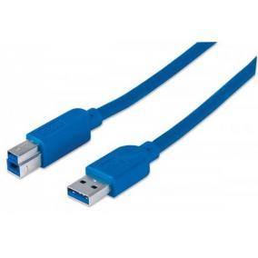 USB 3.0 nyomtató kábel, 2 m, MANHATTAN, kék