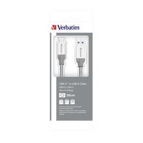 USB kábel, USB-C 3.1 - USB-A , 30 cm, VERBATIM, ezüst
