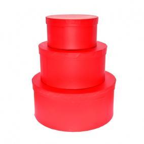 Kalapdoboz kerek papír 25 cm x 11 cm, 20 cm x 10 cm, 15 cm x 8 cm piros [3 db]