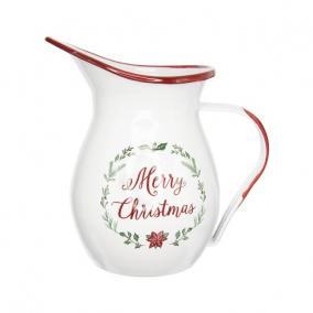 Kancsó Merry Christmas felirattal bádog 28 cm x 26 cm x 42 cm fehér,piros