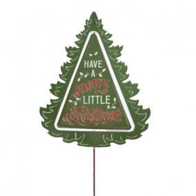 Karácsonyfa Merry Christmas felirattal betűzős bádog 38 cm x 22 cm x 95 cm zöld,piros