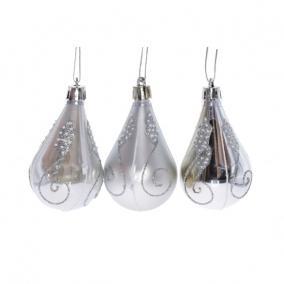 Karácsonyi dísz csepp műanyag, dobozban 6cm ezüst-fehér fényes matt [3 db]