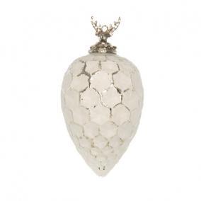 Karácsonyi dísz szarvassal akasztós üveg, fém 17 cm ezüst,fehér