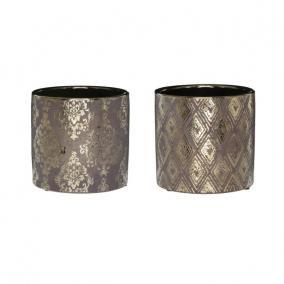 Kaspó barokk mintás kerámia 13,2 cm x 13,2 cm x 12,6 cm arany 2 féle