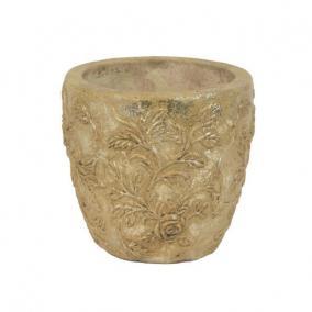 Kaspó kerek kő hatású kerámia 14x13 cm bézs