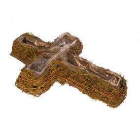 Kaspó kereszt alakú rattan/moha 30cm x40cm x8cm zöld