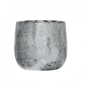 Kaspó mintás kerámia 14,5 cm x 14,5 cm x 13,5 cm fehér,ezüst