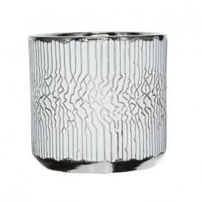 Kaspó mintás kerámia 16 cm x 16 cm x 15 cm fehér,ezüst