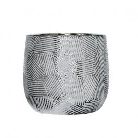 Kaspó mintás kerámia 20 cm x 20 cm x 18,5 cm fehér,ezüst