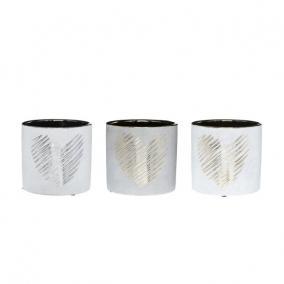 Kaspó szív mintás kerámia 13,2 cm x 13,2 cm x 12,6 cm arany,ezüst,szürke 3 féle