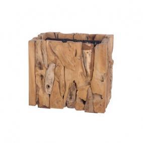 Kaspó szögletes fa 38 cm x 38 cm x 38 cm natúr